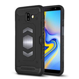 Ntech Ntech Samsung Galaxy J6+ (Plus) 2018 Luxe Armor TPU Back Cover met card slot & metaalplaat hoesje - Zwart