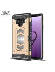 Ntech Ntech Samsung Galaxy Note 9 Luxe Armor Case met Pashouder - Goud