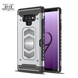 Ntech Ntech Samsung Galaxy Note 9 Luxe Armor Case met Pashouder - Zilver