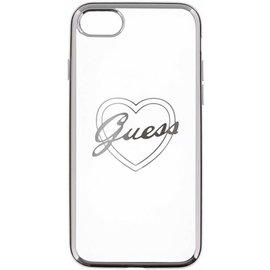 Guess Guess Originele Heart Signature Transparant Hard TPU Back Cover Hoesje voor de Apple iPhone 7 / 8 - Zilver