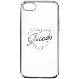 Guess Guess Originele Heart Signature Transparant Hard TPU Back Cover Hoesje voor de Apple iPhone 7 / 8 - Zilver