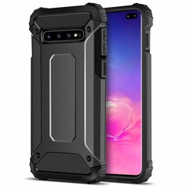 Ntech Ntech Samsung Galaxy S10+ Plus Zwart Anti Shock Dual Layer Hybrid Armor Carbon hoesje