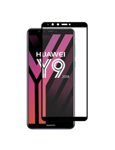 Ntech Ntech Huawei Y9 2018 full cover Screenprotector Tempered Glass Zwart