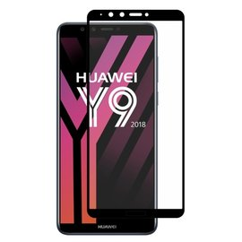 Ntech Ntech Huawei Y9 2018 full cover Screen Protector-9H HD clarity Hardness Tempered Glass Zwart