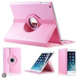Merkloos iPad Mini 1 2 en 3 Hoes Cover Multi-stand Case 360 graden draaibare Beschermhoes Licht roze Met Stylus Pen en Tempered Glass Screen protector