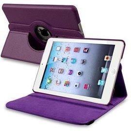 Merkloos iPad Mini 2 Hoes Cover Multi-stand Case 360 graden draaibare Beschermhoes Paars