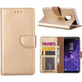 Merkloos Samsung Galaxy S9 Boek Hoesje - siliconen binnenkant - portemonnee hoesje – geschikt voor pasjes - Goud