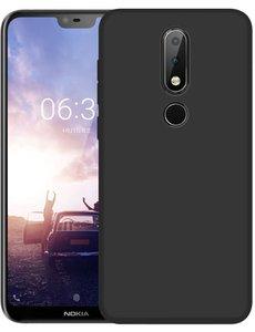 Ntech Ntech Nokia 5.1+ (Plus) Hoesje Silicone Hoesje Flexibel & Scratch Resistent TPU Case - Zwart