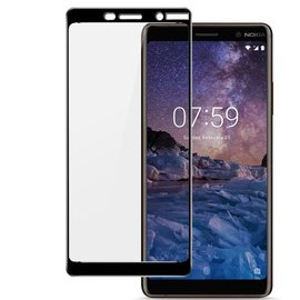 Merkloos Nokia 7 + ( Plus) Full cover HD clarity Hardness Bubble Free tempered glass zwart