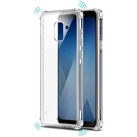 Merkloos Samsung Galaxy A6+ (Plus 2018) transparant Shockproof tpu hoesje (verstevigde randen)