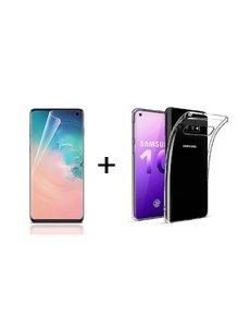 Ntech Ntech Samsung Galaxy S10 PET Folie Screenprotector | Fingerprint Unlocking + TPU backcover Clear