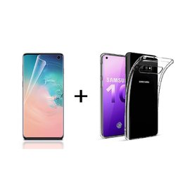 Ntech Ntech Samsung Galaxy S10 PET Folie Screen protector | Fingerprint Unlocking + TPU Back Cover Clear