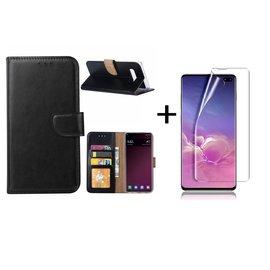 Ntech Ntech Samsung Galaxy S10 Plus Book Hoesje Zwart + Folie creenprotector