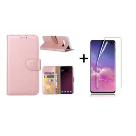 Ntech Ntech Samsung Galaxy S10+ (Plus) portemonnee hoes|met opbergvakjes Rose Goud + PET Folie screen protector