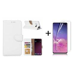 Ntech Ntech Samsung Galaxy S10+ (Plus) portemonnee hoes|met opbergvakjes Wit+ PET Folie screen protector