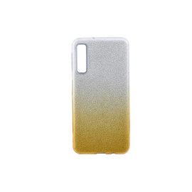 Ntech Ntech Samsung Galaxy A7 2018 - Glamour Glitter Dual Layer Back Cover TPU Hoesje - Zilver & Goud