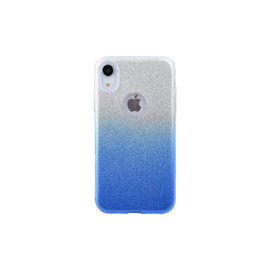 Ntech Ntech Apple iPhone Xr - Glamour Glitter Dual Layer Back Cover TPU Hoesje - Zilver & Blauw