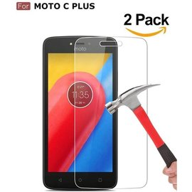 Merkloos 2 Pack / 2X Moto C + (Plus) Glazen tempered glass / Ultra Clear screen protector 2.5D 9H (0.3mm)