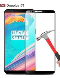 Merkloos OnePlus 5T full cover ultra clear HD clarity tempered glass Zwart