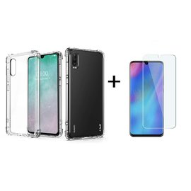 Ntech Ntech Huawei P30 Transparent Anti Burst Hoesje Shock Proof TPU Case + Tempered glass screen protector