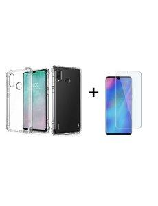 Ntech Ntech Huawei P30 lite / P30 Lite New Edition Hoesje Transparant Anti Burst Shock Proof TPU Case + Glazen Screenprotector