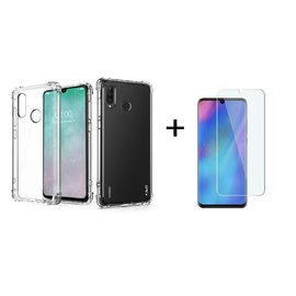 Ntech Ntech Huawei P30 lite Transparent Anti Burst Hoesje Shock Proof TPU Case + Tempered glass screen protector