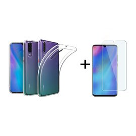 Ntech Ntech Huawei P30 Transparant Hoesje Flexible TPU & Scratch Resistent Silicone Case  + Tempered glass screen protector
