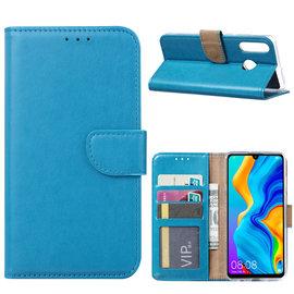 Ntech Ntech Hoesje voor Huawei P30 Lite portemonnee hoes / met opbergvakjes Blauw