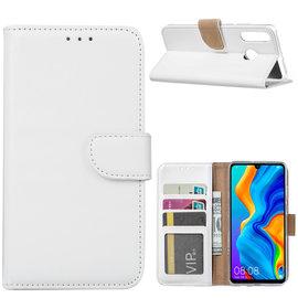 Ntech Ntech Hoesje voor Huawei P30 Lite portemonnee hoes / met opbergvakjes Wit