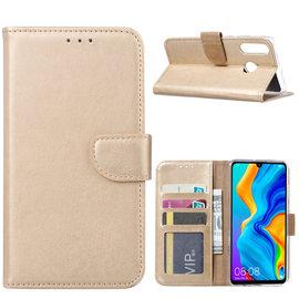 Ntech Ntech Hoesje voor Huawei P30 Lite portemonnee hoes / met opbergvakjes Goud