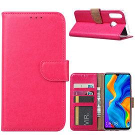 Ntech Ntech Hoesje voor Huawei P30 Lite portemonnee hoes / met opbergvakjes Roze
