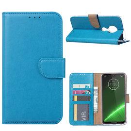 Ntech Ntech Portemonnee Hoes / met Opbergvakjes & Magneetflapje voor Motorola Moto G7 Plus - Blauw