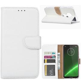 Ntech Ntech Portemonnee Hoes / met Opbergvakjes & Magneetflapje voor Motorola Moto G7 Plus - Wit