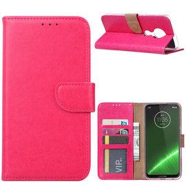 Ntech Ntech Portemonnee Hoes / met Opbergvakjes & Magneetflapje voor Motorola Moto G7 Plus - Roze