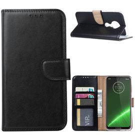 Ntech Ntech Portemonnee Hoes / met Opbergvakjes & Magneetflapje voor Motorola Moto G7 Plus - Zwart