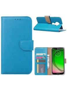 Ntech Ntech Portemonnee hoesje met Pasjesruimte voor Motorola Moto G7 Play - Blauw