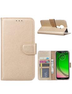 Ntech Ntech Portemonnee hoesje met Pasjesruimte voor Motorola Moto G7 Play - Goud