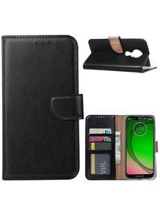 Ntech Ntech Portemonnee hoesje met Pasjesruimte voor Motorola Moto G7 Play - Zwart
