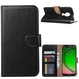 Ntech Ntech Portemonnee hoesje / met Opbergvakjes & Magneetflapje voor Motorola Moto G7 Play - Zwart