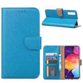 Ntech Ntech Portemonnee Hoes / met Opbergvakjes & Magneetflapje voor Samsung Galaxy A50 - Blauw