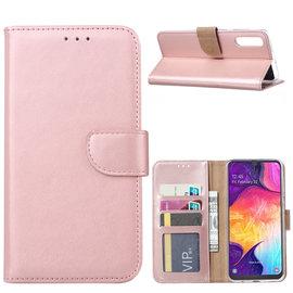 Ntech Ntech Portemonnee Hoes / met Opbergvakjes & Magneetflapje voor Samsung Galaxy A50 - Rose Goud