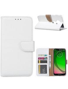 Ntech Ntech Portemonnee hoesje met Pasjesruimte voor Motorola Moto G7 Power - Wit