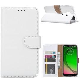 Ntech Ntech Portemonnee Hoes / met Opbergvakjes & Magneetflapje voor Motorola Moto G7 Power - Wit