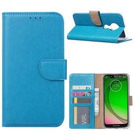 Ntech Ntech Portemonnee Hoes / met Opbergvakjes & Magneetflapje voor Motorola Moto G7 Power - Blauw