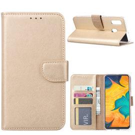 Ntech Ntech Portemonnee Hoes / met Opbergvakjes & Magneetflapje voor Samsung Galaxy A30 - Goud