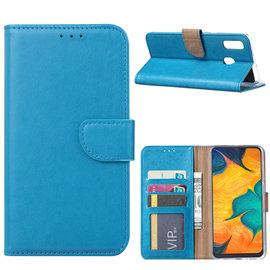 Ntech Ntech Portemonnee Hoes / met Opbergvakjes & Magneetflapje voor Samsung Galaxy A30 - Blauw