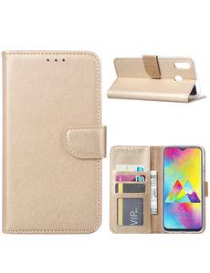 Ntech Ntech Portemonnee hoesje met Pasjesruimte voor Samsung Galaxy M20 - Goud