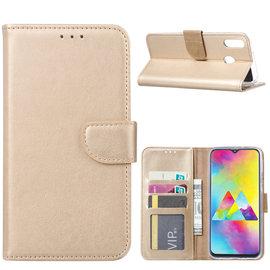 Ntech Ntech Portemonnee Hoes / met Opbergvakjes & Magneetflapje voor Samsung Galaxy M20 - Goud
