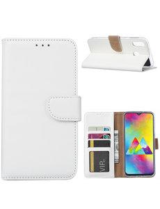 Ntech Ntech Portemonnee hoesje met Pasjesruimte voor Samsung Galaxy M20 - Wit