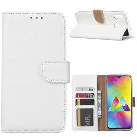 Ntech Ntech Portemonnee hoesje / met Opbergvakjes & Magneetflapje voor Samsung Galaxy M20 - Wit